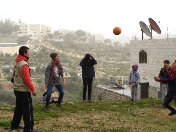 8.1.2016.Hebron.EAs playing volleyball with children in Wadi al Hussein valley.EAPPI_E.Röst - Cópia